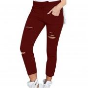 Pantalones Slim Para Mujer Con Verdugón De Tela Algodón - Rojo