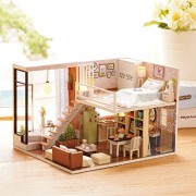 Awhao DIY Houses Handmade Piece Together Toy Doll Wooden House with Music Movement for Birthday Gift and Room Decoration (B)
