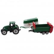Toi-toys groene tractor met aanhangers wit/groen 7,5 cm