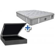 Conjunto Cama Box Baú - Colchão Probel de Molas Pocket Sensory Prime Látex Pillow Euro + Cama Box Baú Nobuck Cinza - Conjunto Box Solteiro - 088 x 188