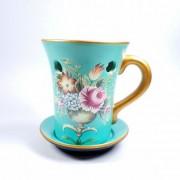 Candela ceramica cu flori pentru aromaterapie cu uleiuri esentiale, volatile