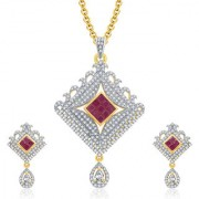 Sukkhi Glossy Gold And Rhodium Plated Ruby CZ Pendant Set For Women