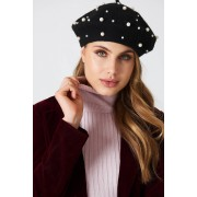 NA-KD Accessories Faux Pearl Beret Hat - Hats & Gloves - Black