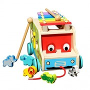 TOYMYTOY Wooden Push Pull Along Toy Pull Along Xylophone Toy Shape Sorter Toy with 6 Cute Animals and Xylophone (Drag Animal Concert)