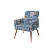 Poltrona Decorativa Para Sala de Estar e Recepção Maria Pés Palito Azul Cinza - Lym Decor