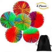 Aneco 6 Pieces Colorful Monkey Stringy Balls 2.75 Sensory Fidget Toy Stress Rainbow Pom Ball Active Toys with Drawstring Bag