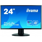 iiyama ProLite XB2481HS-B1 24' LED LCD 1920x1080 13cm Height adj VA 250cd/m² 12M:1 ACR VGA DVI HDMI 6ms speakers TCO6 Super slim