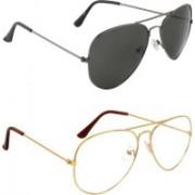 Debonair Retro Square Sunglasses(Black, Clear)