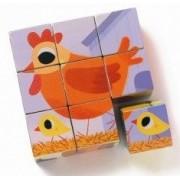 Drewniana układanka zwierzątka, klocki dla dzieci zestaw 9 sztuk Ptaki Djeco DJ01950