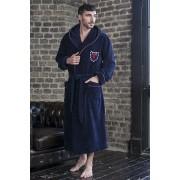 Five Wien Спортивный мужской бамбуковый халат синего цвета с капюшоном Five Wien FW1017 Синий