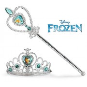 Papericious Disney Frozen Crown Tiara and Wand Set - Silver with Blue Elsa and Anna Heart Jewel