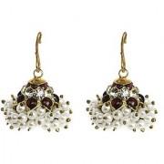 Silverwala Spring Sparkle Spinel Cubic Zirconia Pearl Silver Jhumki Earring (TJSTSL000000032)
