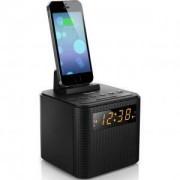 Philips AJ3200 радио с часовник, аларма, порт за зареждане на IPhone/Smartphone, повторение на алармата, Черен - AJ3200