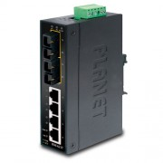 PLANET IP30 Slim Type 4-Port Industrial Ethernet Switch + 2-Port 100Base-FX(15KM) (-40 - 75 C)