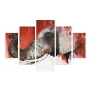 Tablou decorativ multicanvas Miracle, 5 Piese, Elefanti, 236MIR2956, Multicolor