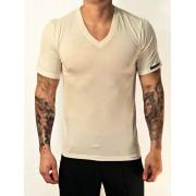 Whittall & Shon Viscose V Neck Short Sleeved T Shirt White 307