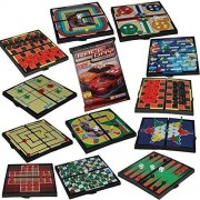 Kidsthrill 12 Mini Magnetic Travel Fun On The Way Best Board Games For Kids & Adults Chess & Checkers, Tic Tac Toe, Racing, Snacks & Ladders & Many More Free Bonus Race Day Car Game