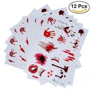 LUOEM 12pcs Halloween Party Tatuajes Temporales Costume Horror Bloody pegatinas heridas Scar