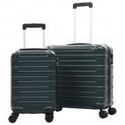 vidaXL 2 db zöld keményfalú ABS gurulós bőrönd