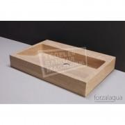 Forzalaqua Palermo Wastafel 80 cm Travertin Gezoet 80,5x51,5x9 cm 1 wasbak zonder kraangaten
