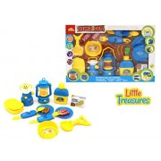Camping play set from Little Treasures 15 pcs kit - Includes a light-up camp stove lantern with light 2 utensil sets a water bottle with cup a toy camping shovel and much more.