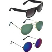 Zyaden Wayfarer, Aviator, Round Sunglasses(Black, Green, Blue)