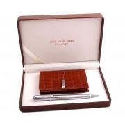 Brown Cardholder Silver Pen by Jos von Arx