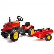 Детски трактор с педали и ремарке Falk X, червен, 302063