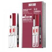 Pupa – Kit Labbra Perfette n.005 deep ruby rossetto liquido waterproof + matita labbra