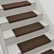 Комплект от 15 броя самозалепващи се килими (стелки) за стълби [en.casa]®, 280 g/m² , Правоъгълник, Кафяв