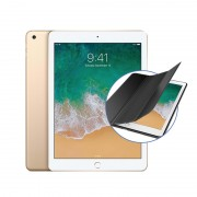 "Apple iPad 9.7"" (2018) 32GB Wifi with Generic iPad 9.7"" (2018) Folding Case (Black) - Gold"