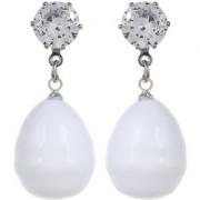 White Elegant Designer Drop Shape Solitaire Classic Earrings For Women/Girls By GoldNera
