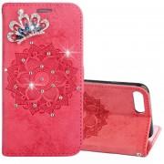 Para IPhone 8 Plus Y 7 Plus Mandragora Patron Funda De Cuero Flip Horizontal De Cristal Incrustados Con Ranura De La Tarjeta Y El Titular Y La Cartera Y Lanyard (rojo)