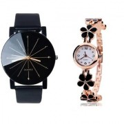 New Black Crystal Glass Men Professional With Black Flower Diamond Designing Dile Analog Lovely Couple Watch