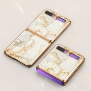 GKK Folding Painted Tempered Glass Phone Case for Samsung Galaxy Z Flip - White/Brown