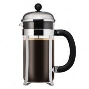 Bodum CHAMBORD® Cafetière à piston, 8 tasses, 1.0 l, acier inox, avec poignée à prise confortable Noir