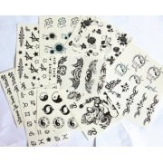10pcs/package hot selling temporary tattoo stickers various designs including totems/angel wing/angel heart/birds/black roses/sun flowers/Elephant Buddha/Bagua Zhen Figure/Ancient text/English letter/stars/butterflies/etc.