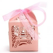 Magideal 50pcs Laser Cut Eiffel Tower Wedding Favor Party Boxes Gift Box Candy Boxes
