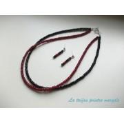 Set colier şi cercei din agat rubiniu şi onix mic faţetat
