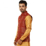 Aespen modi jacket/nehru jacket/ethnic wear for men traditional/kurta jackets/waist coat for men maroon/Red color