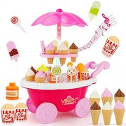 Ice Cream Candy Cart 39 PCS Pretend Play Food Dessert and Cash Trolley Set Toy with Music Lighting Kids Girls Toys Miniature Sweet Shop – for kids 3+ luxury candy cart light music, a beautiful stand that holds ice creams many sweets