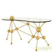 Birou design modern cu blat din sticla Galileo auriu 109866 HZ