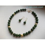 Set colier şi cercei din agate verzi cu accesorii aurii