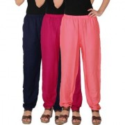 Culture the Dignity Women's Rayon Solid Casual Pants Office Trousers With Side Pockets Combo of 3 - Navy Blue - Magenta - Baby Pink - C_RPT_B3M1P2 - Pack of 3 - Free Size