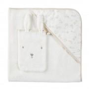 Maisons du Monde Capa de baño para bebé de algodón color crudo con estampado de conejitos