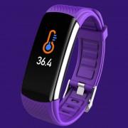 LEMONDA Smart Watch C6T 0.96'' Color Screen Temperature Monitoring HR Bracelet - Dark Purple