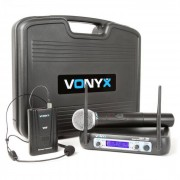 Vonyx WM512C 2-canal VHF micrófono por radio bodypacks display (179.223)