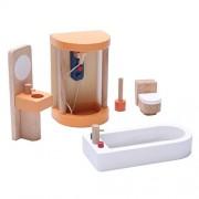 Segolike Wooden Dollhouse Miniature Accessories Yellow Bathroom Furniture Set Kids Toys