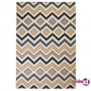 vidaXL Moderni tepih s cik-cak uzorkom 120 x 170 cm smeđi/crni/plavi
