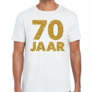 Bellatio Decorations 70 jaar goud glitter verjaardag/jubileum kado shirt wit heren